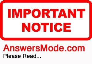 Answers Mode IMPORTANT NOTICE